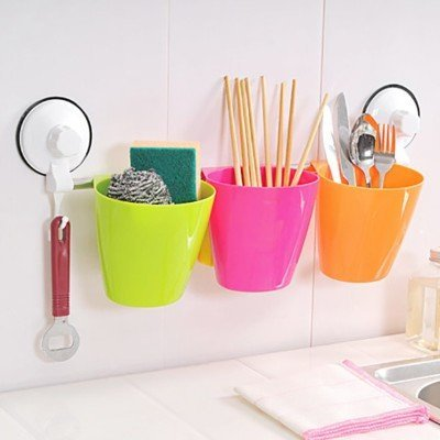 Plastic wall mounted shelves, Multipurpose Cups Drainer and Power Suction Bath Shelf