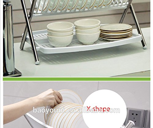 Foldable Steel & Plastic Dish Rack