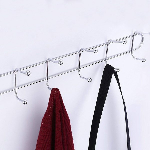 Wall Mounted Steel Rack with 5 Hooks, Door Organiser