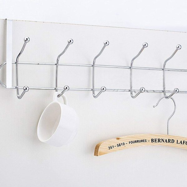 Wall Mounted Steel Rack with 5 Hooks, Door Organiser