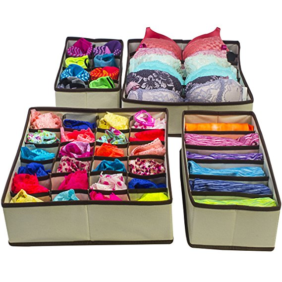 Multi Compartment Foldable Storage Box,Closet Organiser