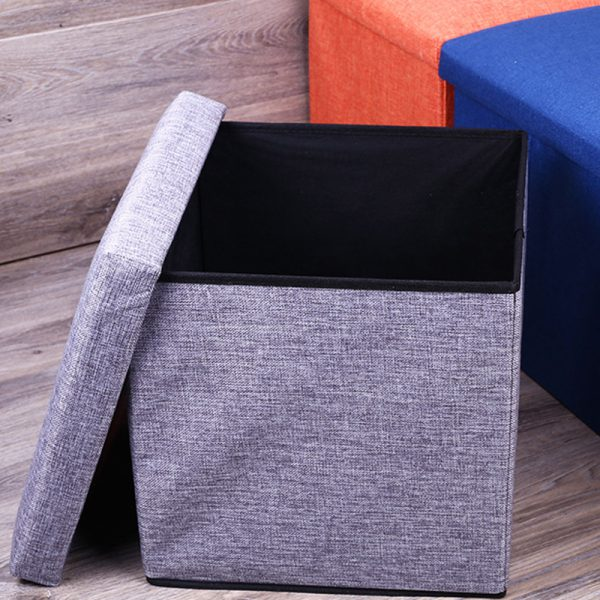 Linen Foldable Storage Stool