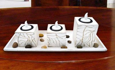 candle holder with tray, designer candle holder