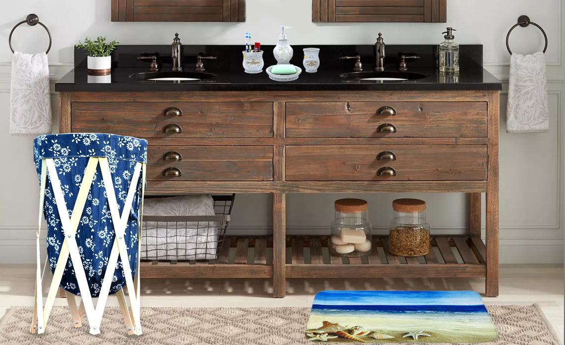 bathroom essentials, laundry baskets, trendy doormats, designer soap dispenser sets, complete bathroom sets