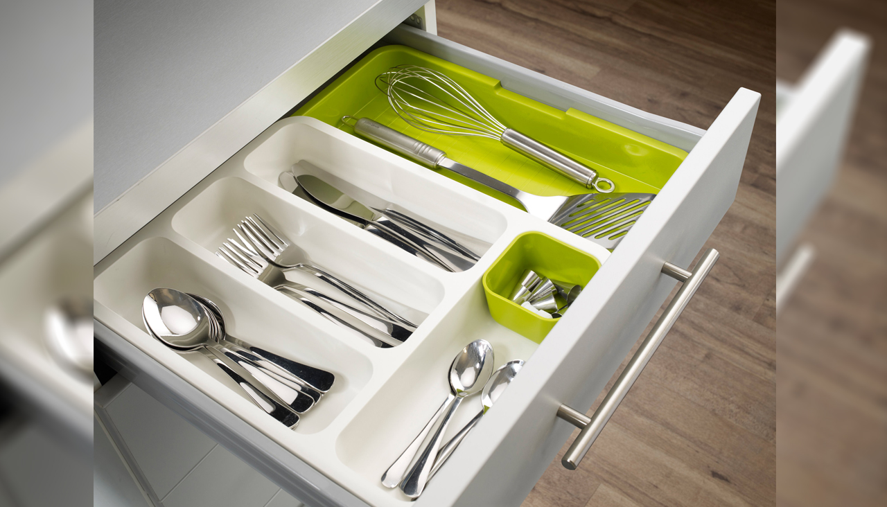 plastic drawer divider, explandable cutlery tray