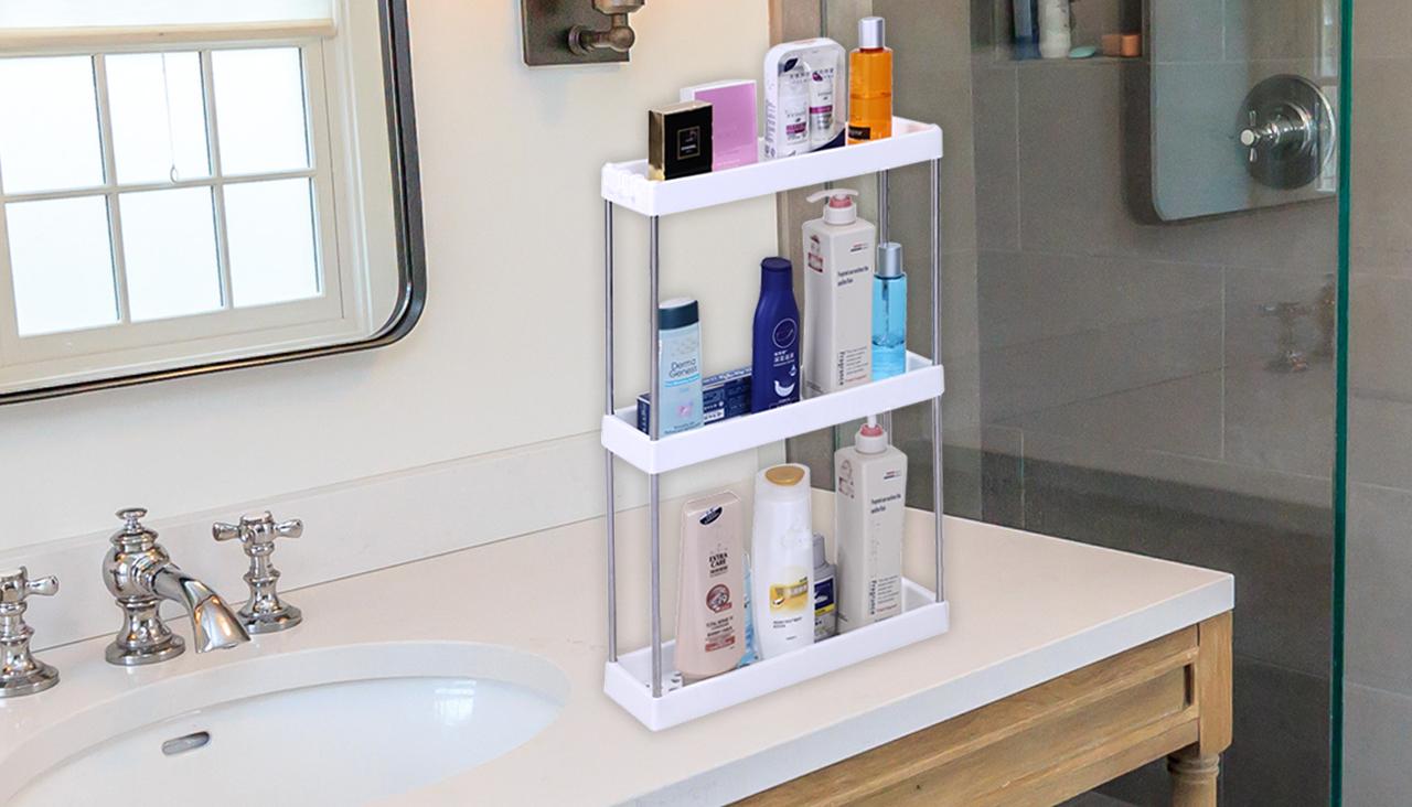 3 Layer Multipurpose Bathroom Rack, Plastic Bathroom rack